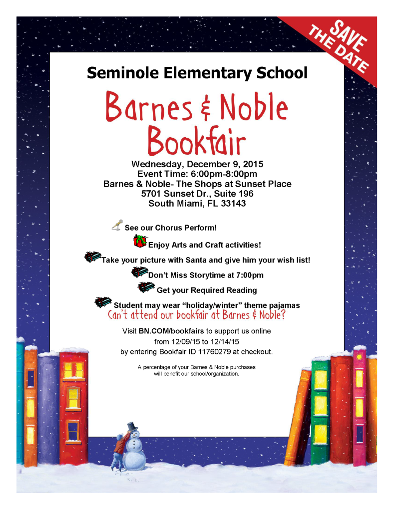 2015_bookfair_holiday flyer_Seminole Elementary School Dec9