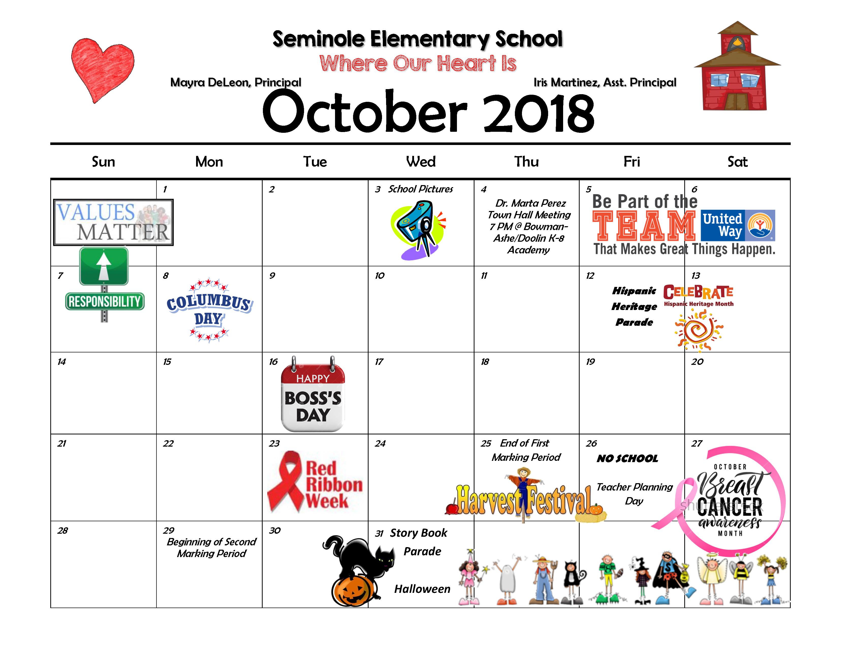 Parent Calendar October 2018-2019
