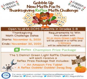 Thanksgiving REFLEX MATH Challenge